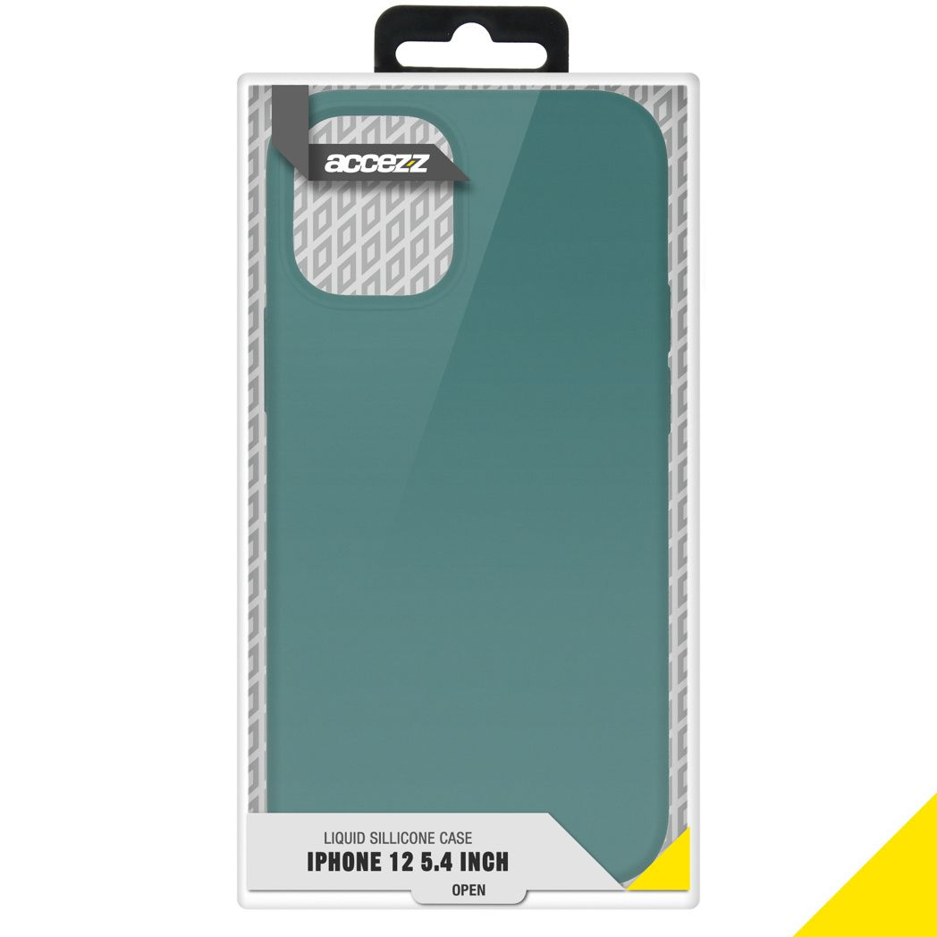 accezz liquid silicone backcover iphone 12 mini donkergroen