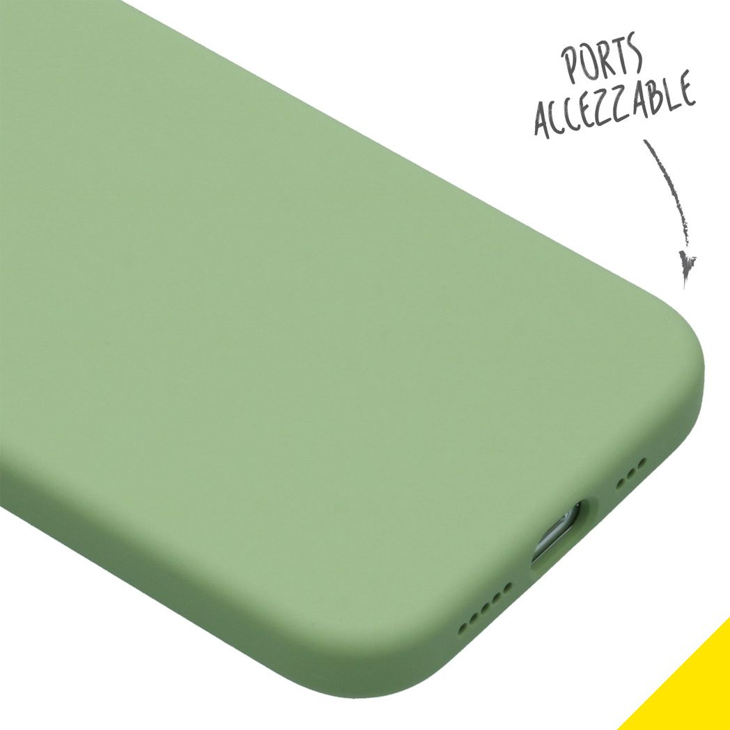 accezz liquid silicone backcover iphone 12 pro groen