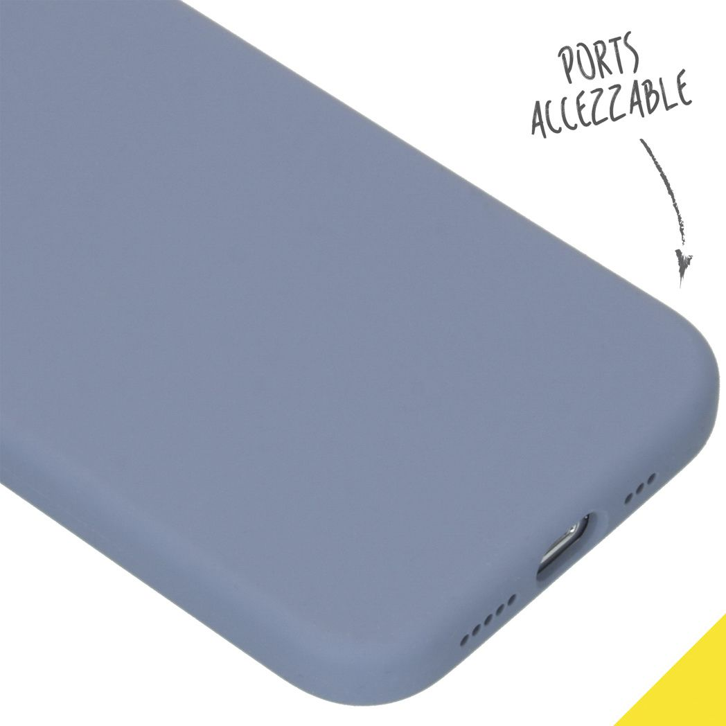 accezz liquid silicone backcover iphone 12 pro lavender gray