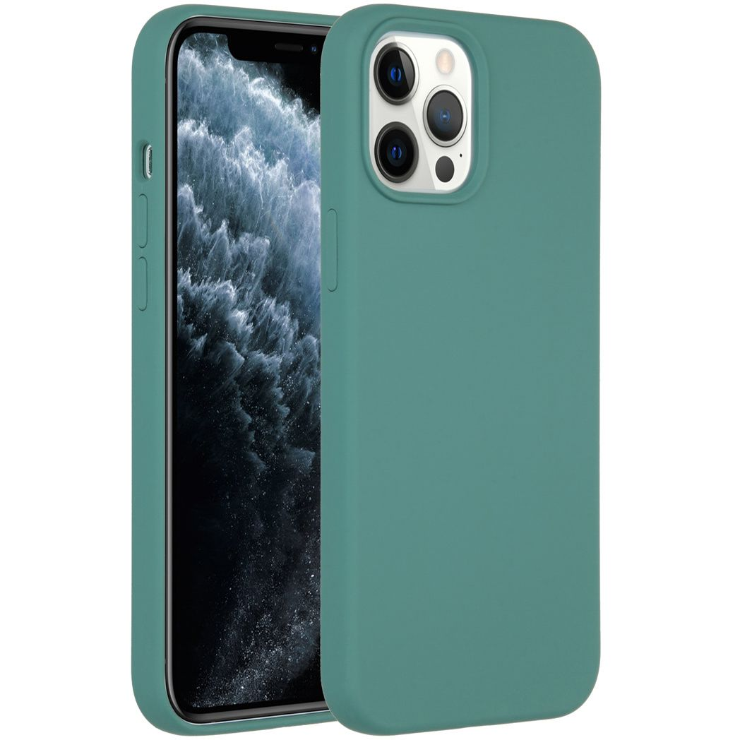 accezz liquid silicone backcover iphone 12 pro max donkergroen
