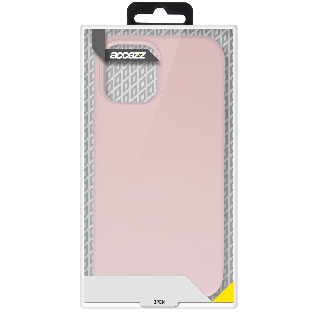 accezz liquid silicone backcover iphone 12 pro max roze