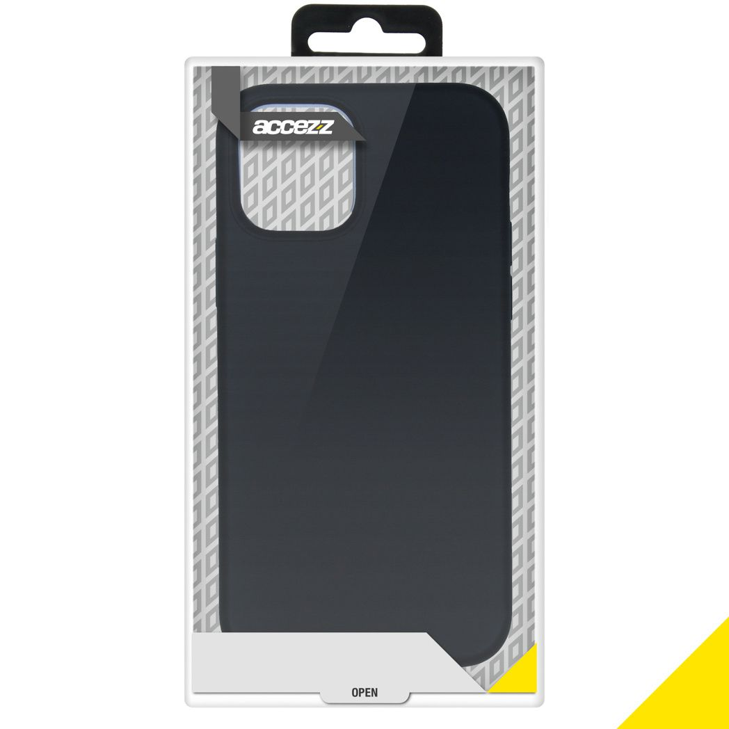 accezz liquid silicone backcover iphone 12 pro max zwart