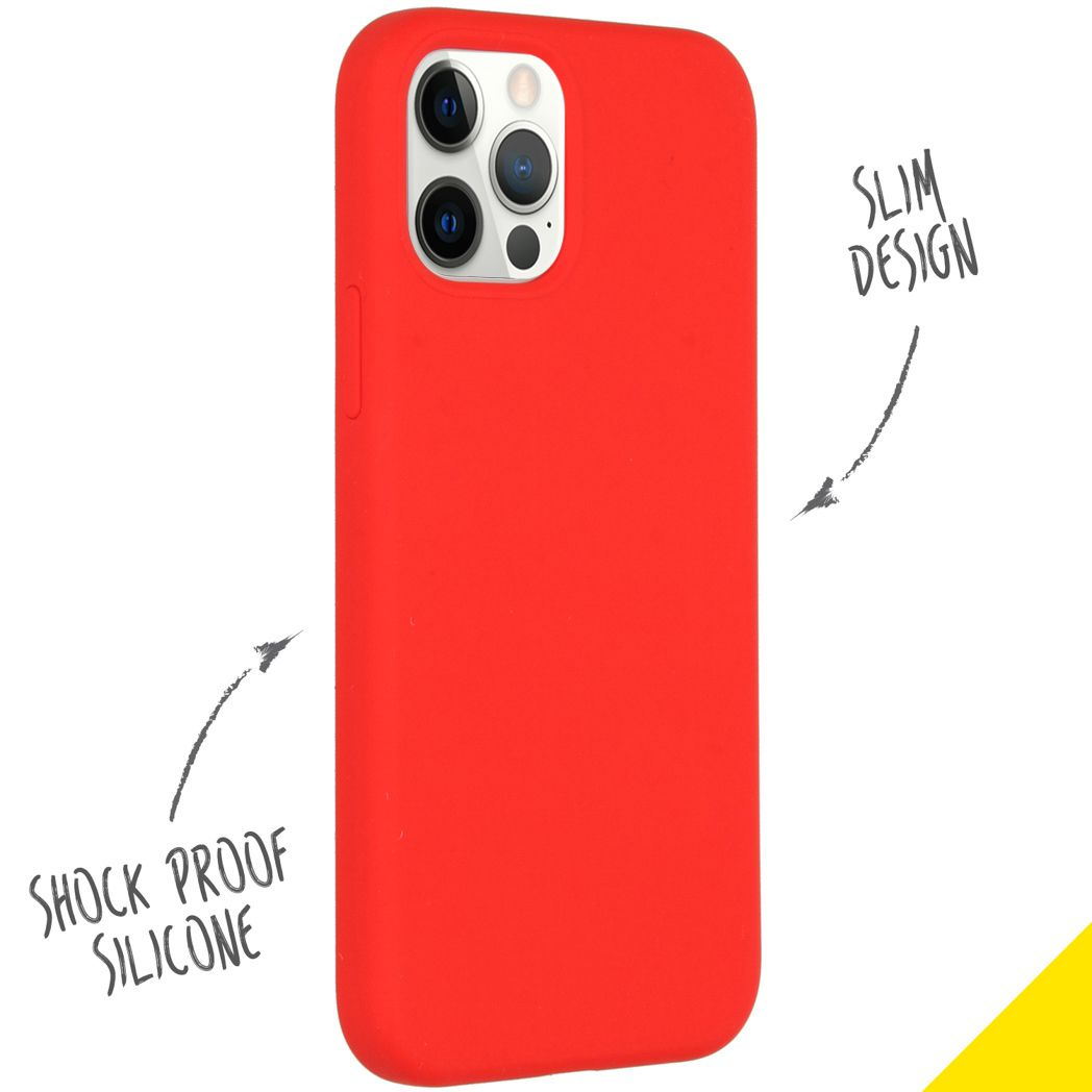 accezz liquid silicone backcover iphone 12 pro rood