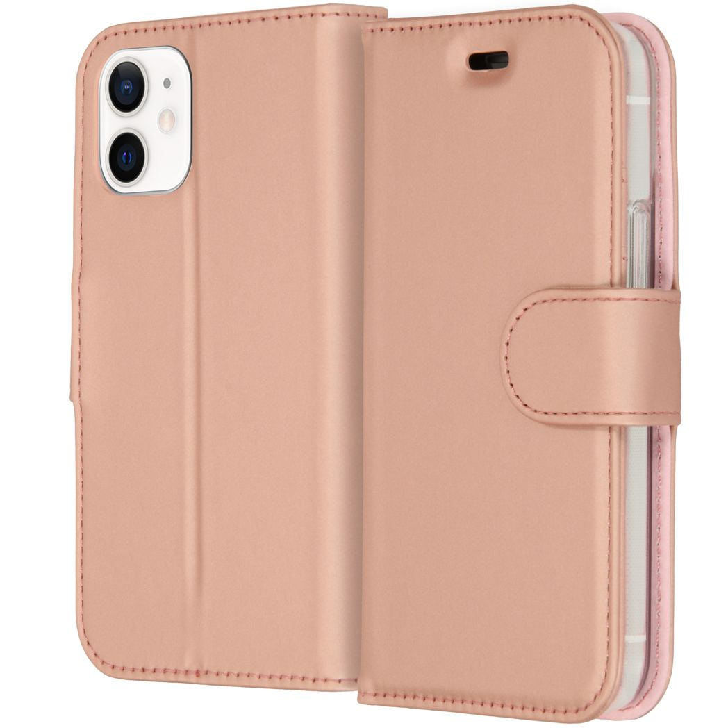 accezz wallet softcase booktype iphone 12 mini ros goud