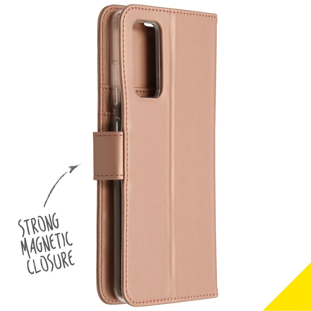 accezz wallet softcase booktype samsung galaxy s20 fe rose goud