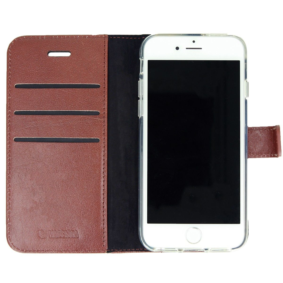 valenta booklet leather brown gel skin iphone 78se 2020